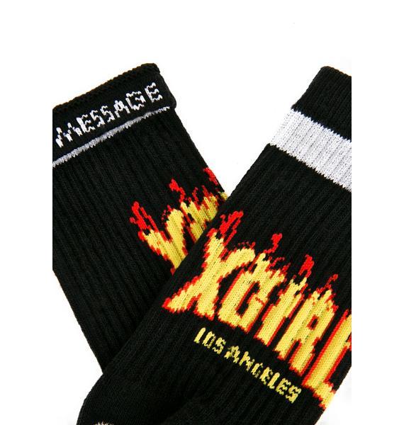 x-Girl Black Flame Logo Socks