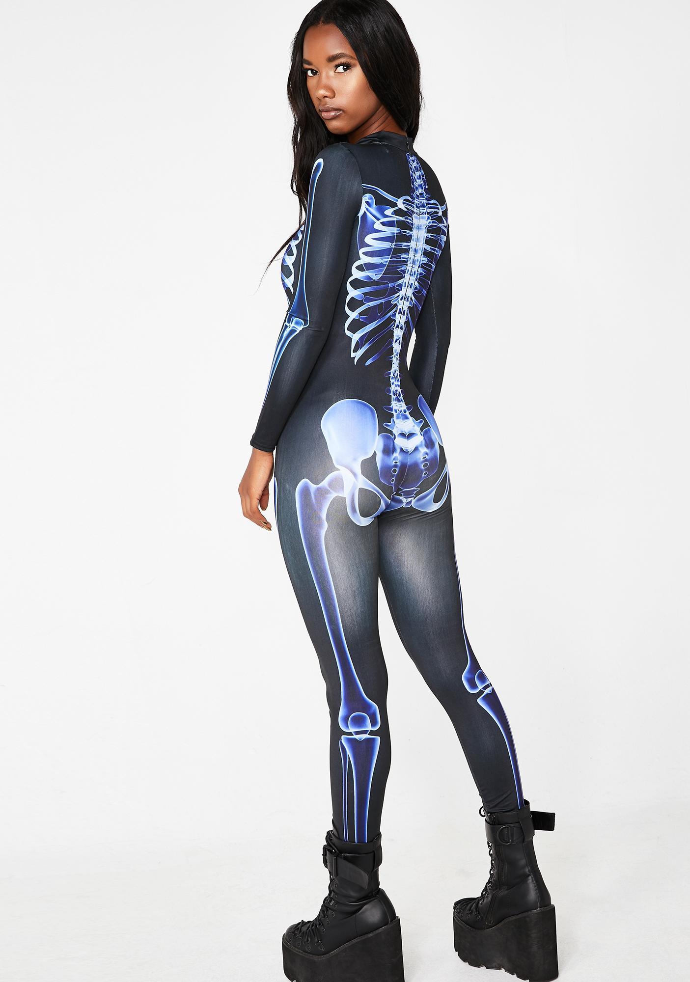 Dolls Kill Wicked Acid Bones Skeleton Catsuit