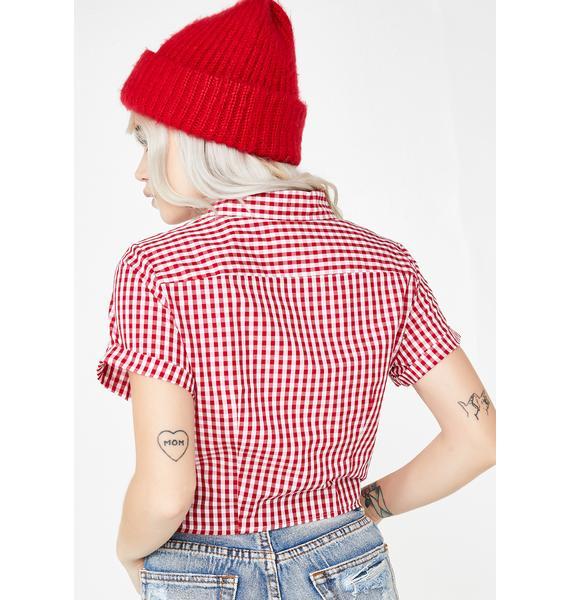 Dickies Girl Tie Front Crop Work Shirt