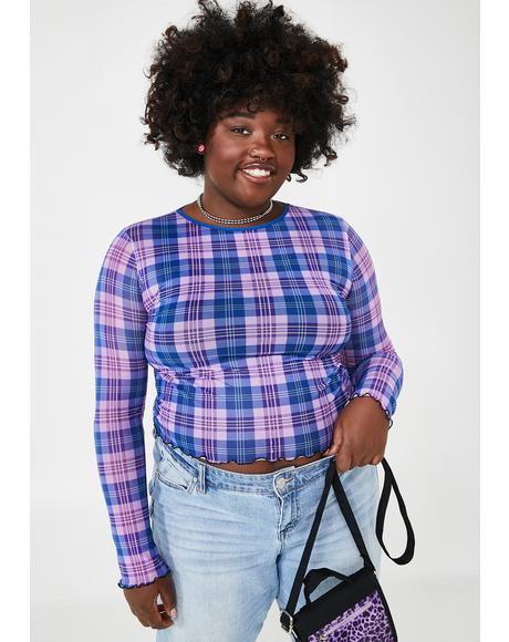 True Plaid Behavior Mesh Top