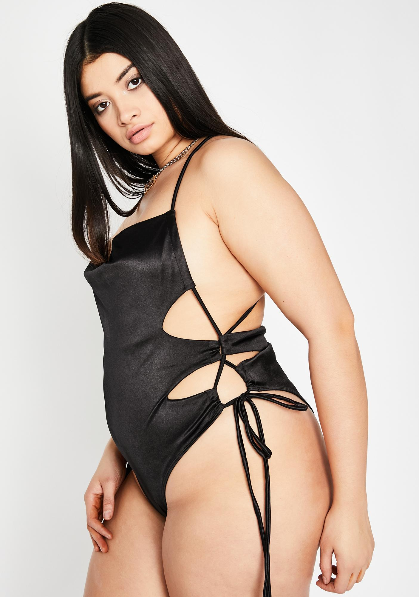 Chilling Totally Tangled Desires Lace Up Bodysuit