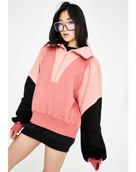 Sally Colorblock Zip-Up Sweater