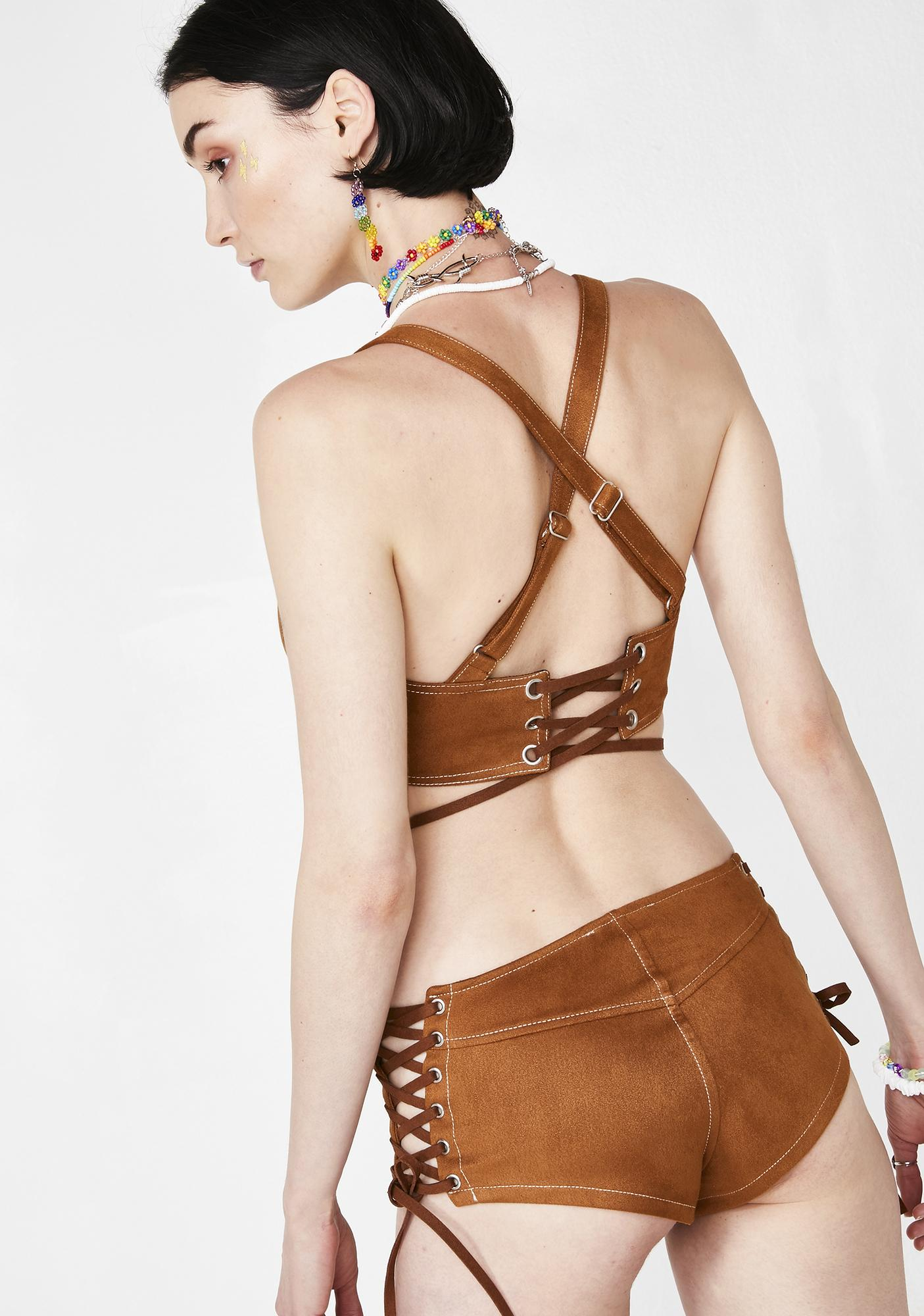 Current Mood Suede Sahara Lace-Up Shorts