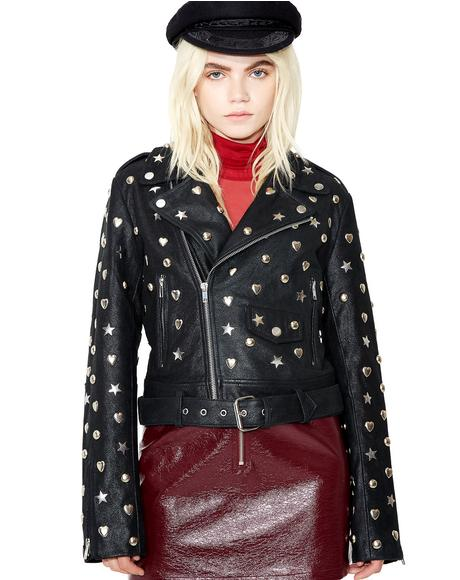 Stars N' Hearts Leather Jacket