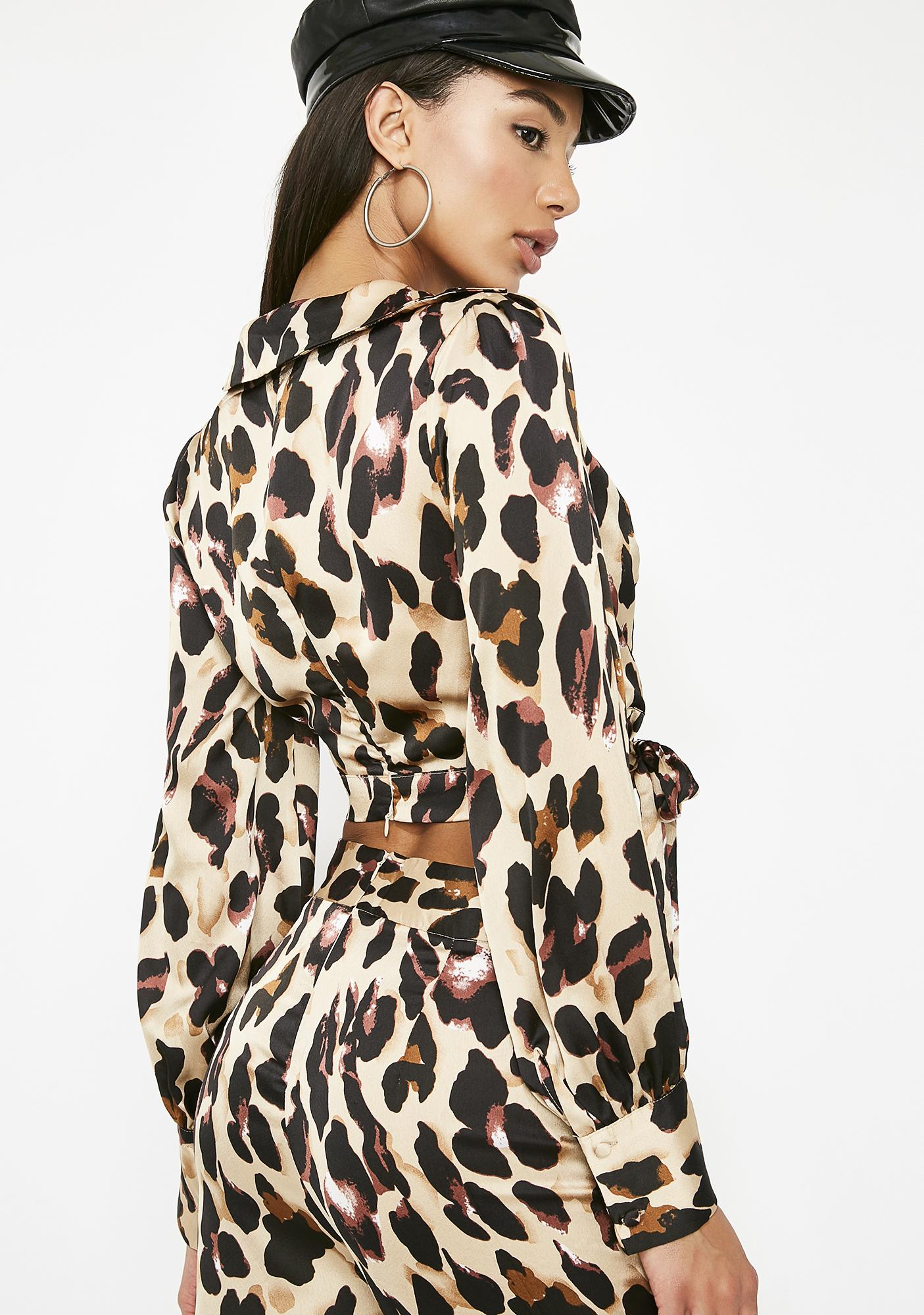 Catty Chic Wrap Blouse