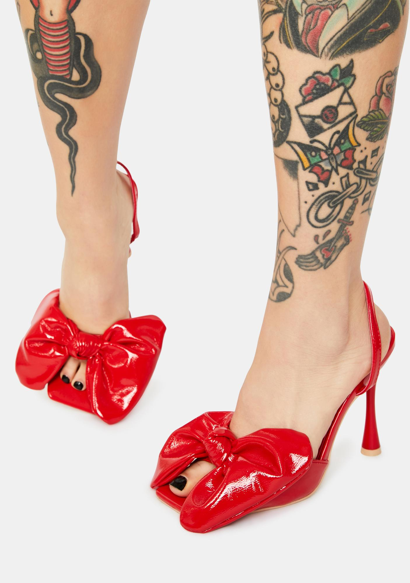 Hot Went Viral Patent Bow Heels