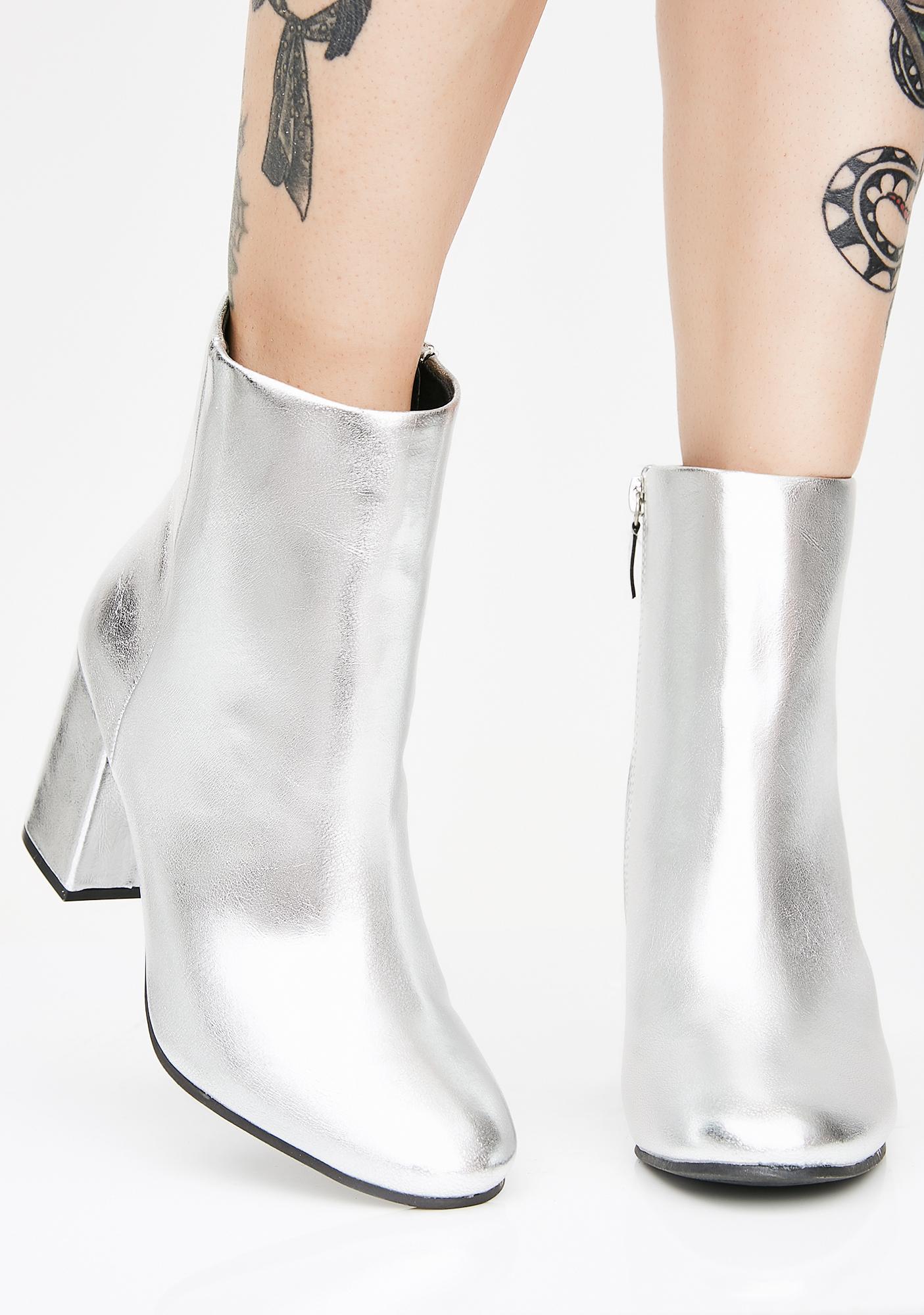 Platinum Pretty Bish Ankle Boots