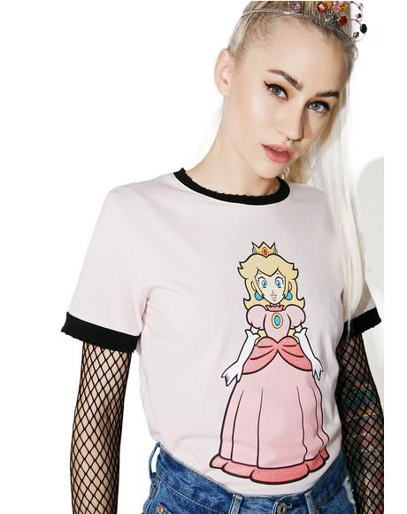 Peachy Royalty Ringer Tee