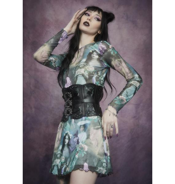 Widow Ink And Feather Portrait Print Mini Skirt