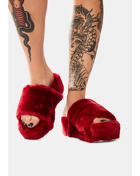 Wine Comfy First Faux Fur Slides