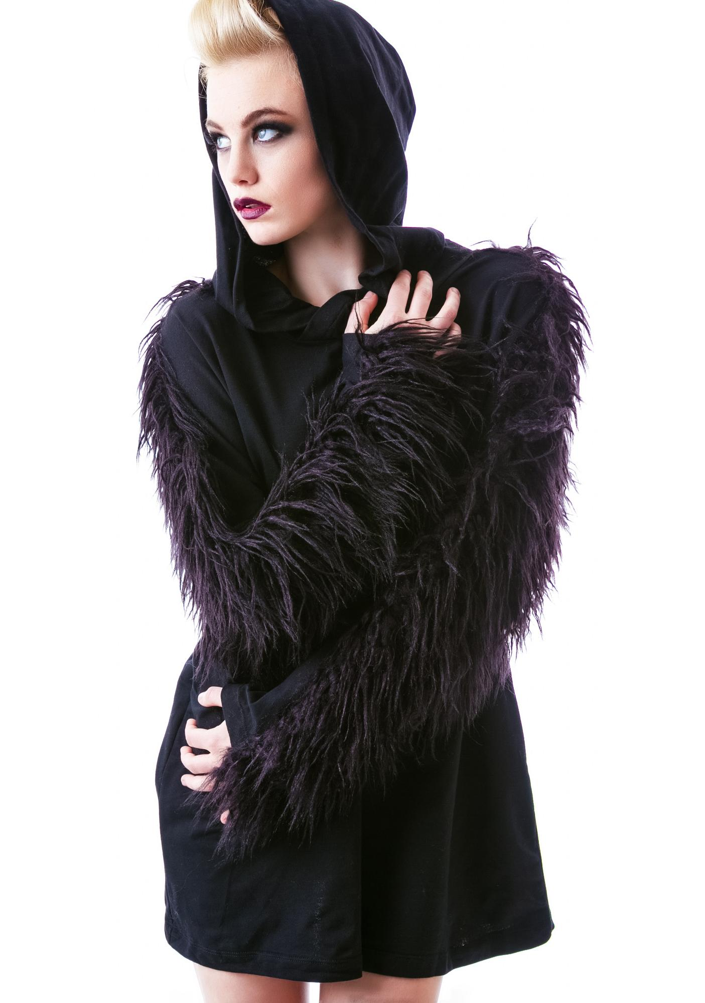 Widow (old) Hellhound Faux Fur Pullover Hoodie