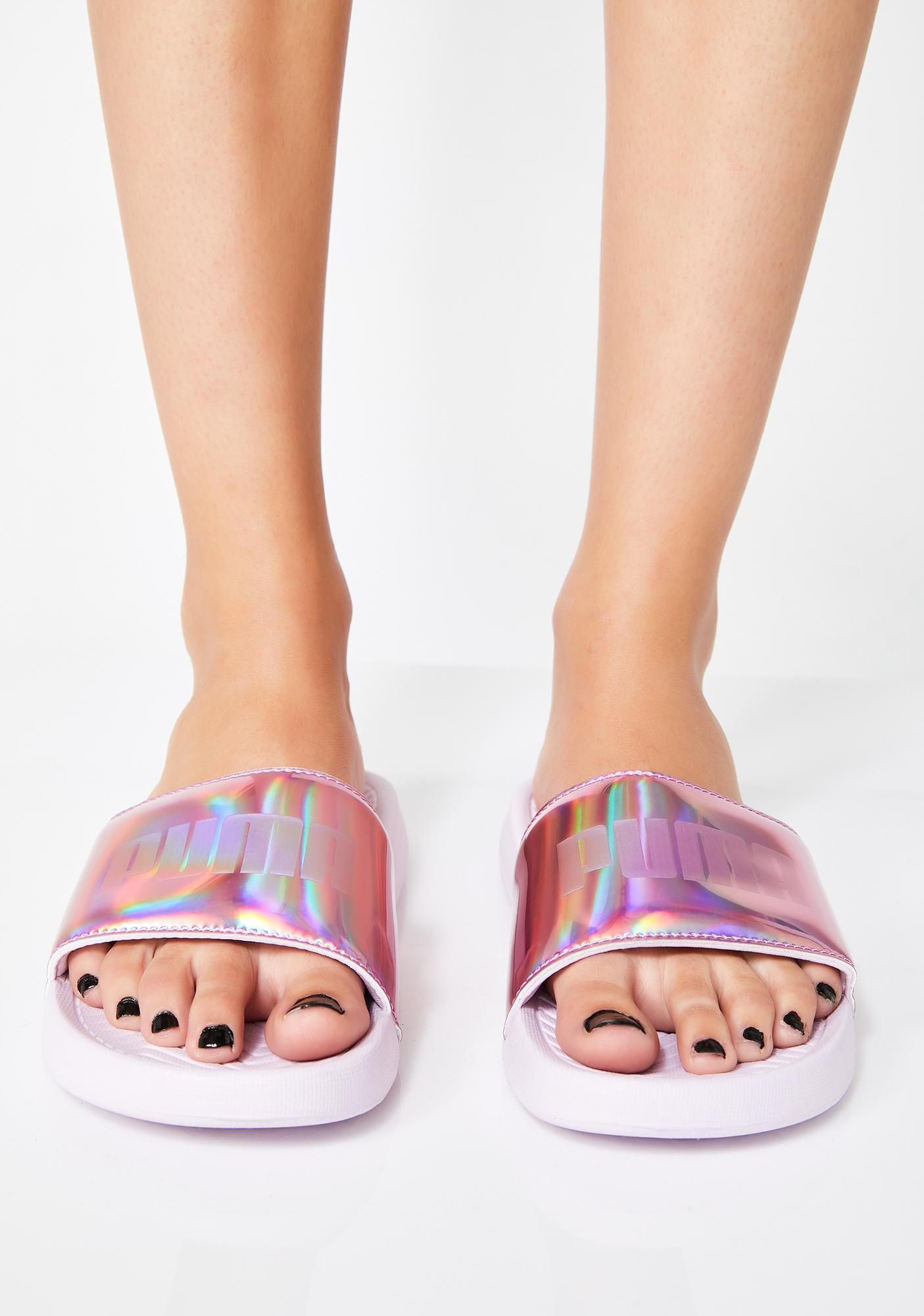 puma popcat chrome slide sandals dolls kill
