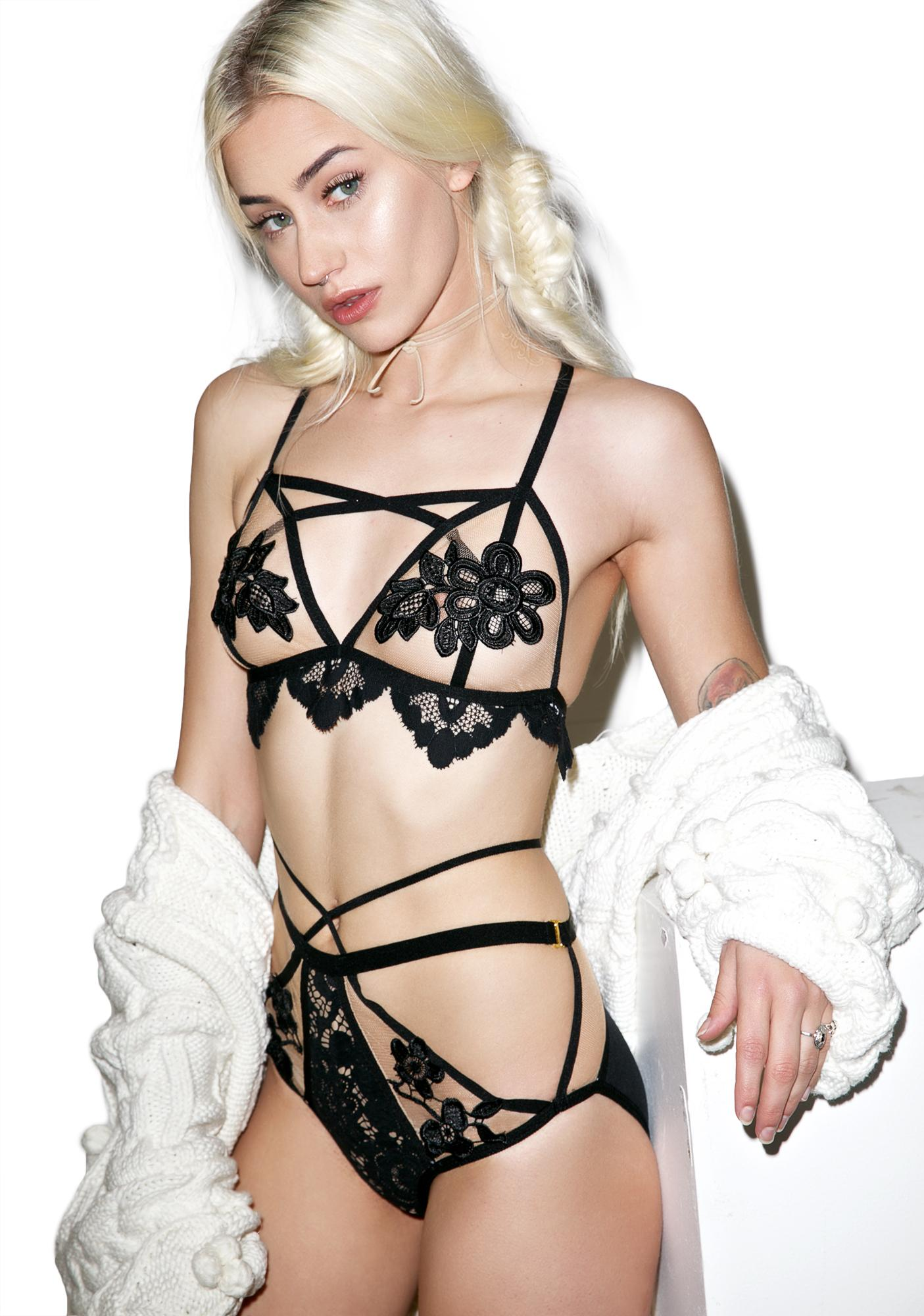 For Love & Lemons Dark Ruby Applique Bralette