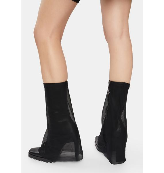 DARKER WAVS Snare Mesh Overlay Stretch Ankle Boots