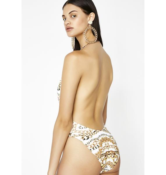 Jaded London Gold Chain Plunge One Piece