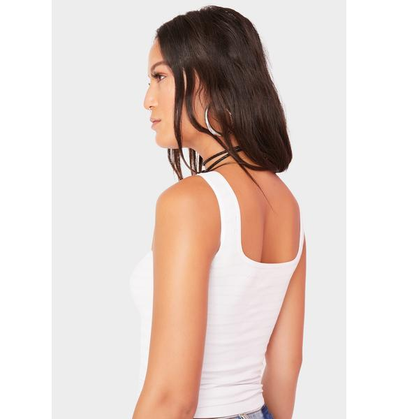 Free People White Square One Seamless Cami
