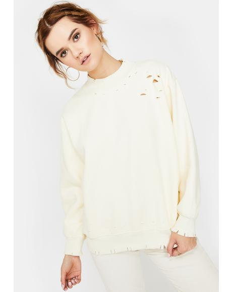 Cream Distressed Mockneck Sweatshirt