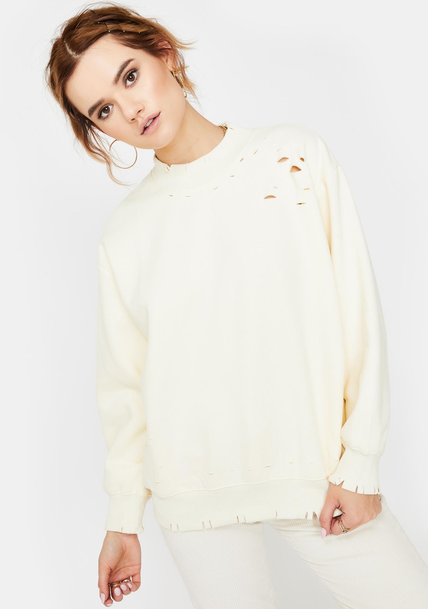 Honey Punch Cream Distressed Mockneck Sweatshirt