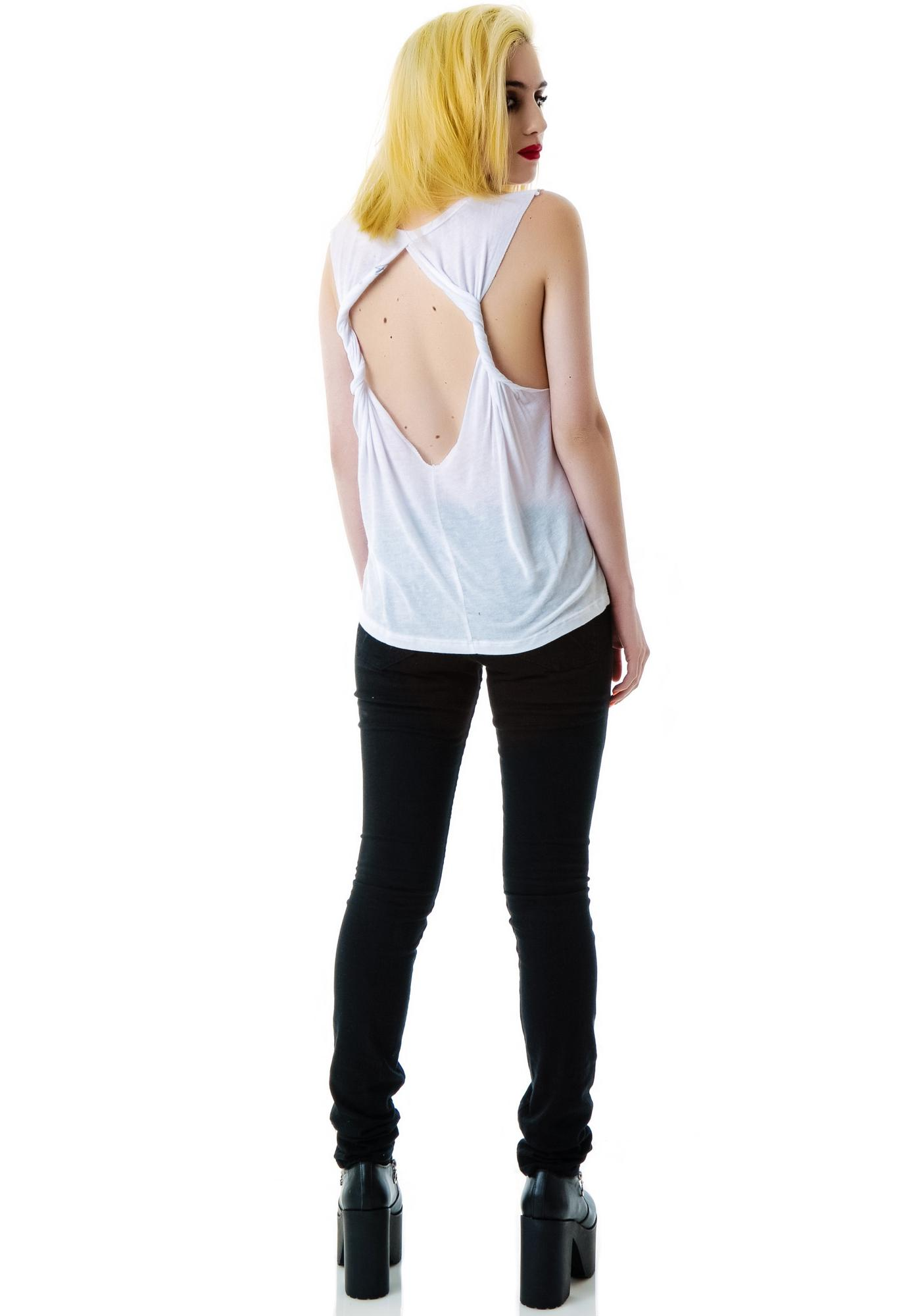 Big Skull Twist Back Moto Tank