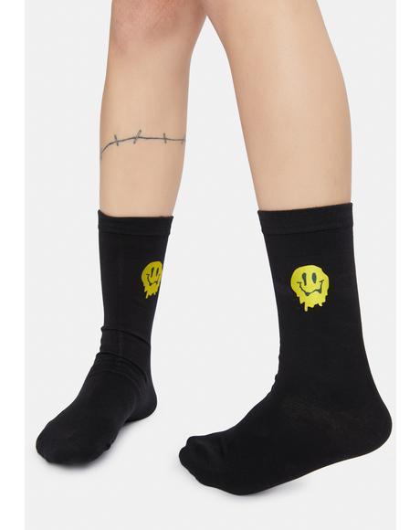 Make You Melt Drippy Face Crew Socks