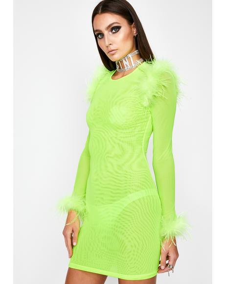 Lime Diamond Ambition Mesh Dress