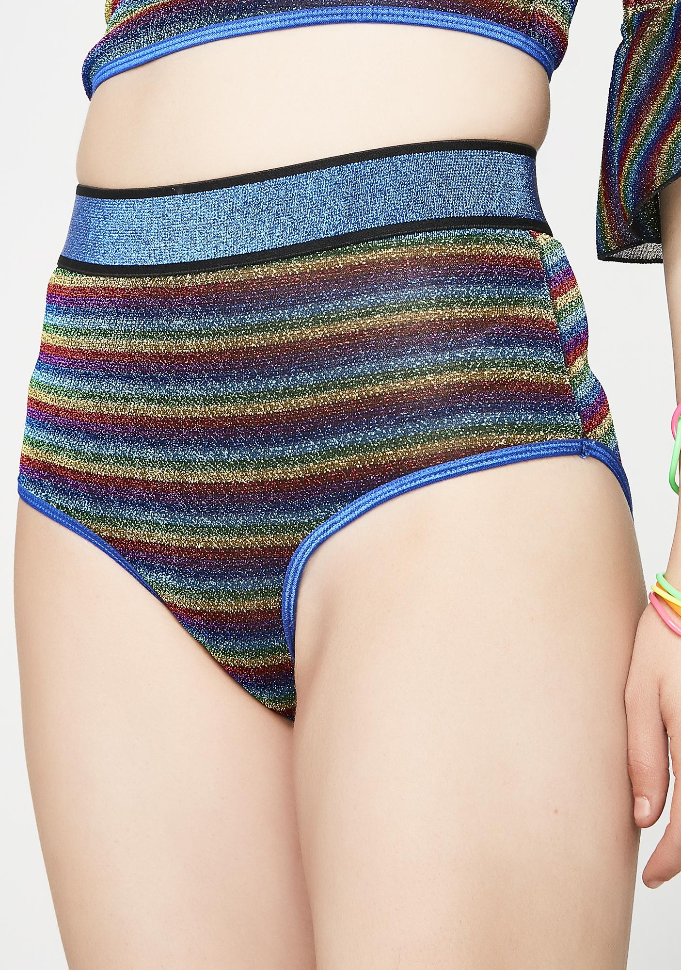 Current Mood Shimmering Prisms Booty Shorts
