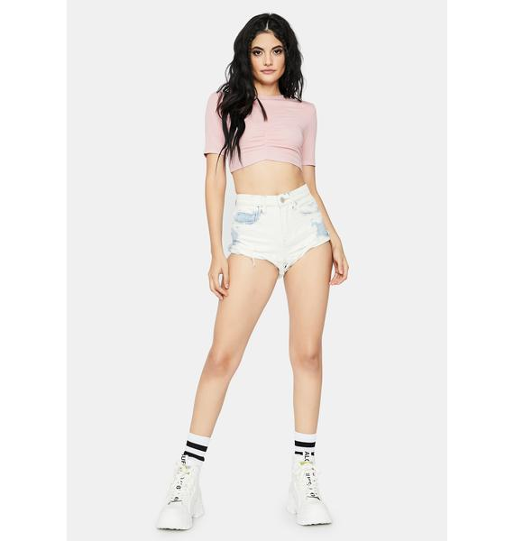 Sweet Made For U Ruched Front Crop Top