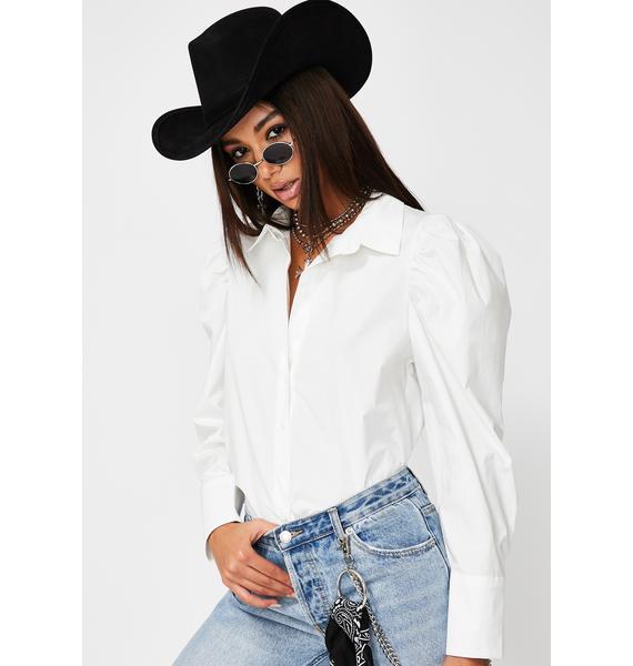 Glamorous White Puff Sleeve Button Up Shirt