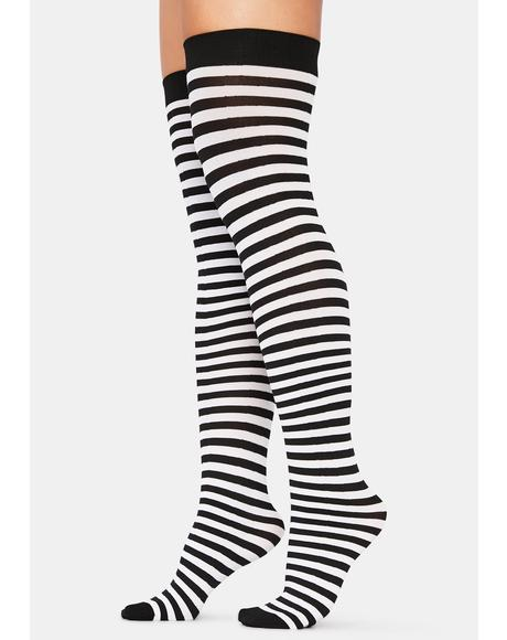 Mortal Left 4 Dead Striped Thigh High Socks