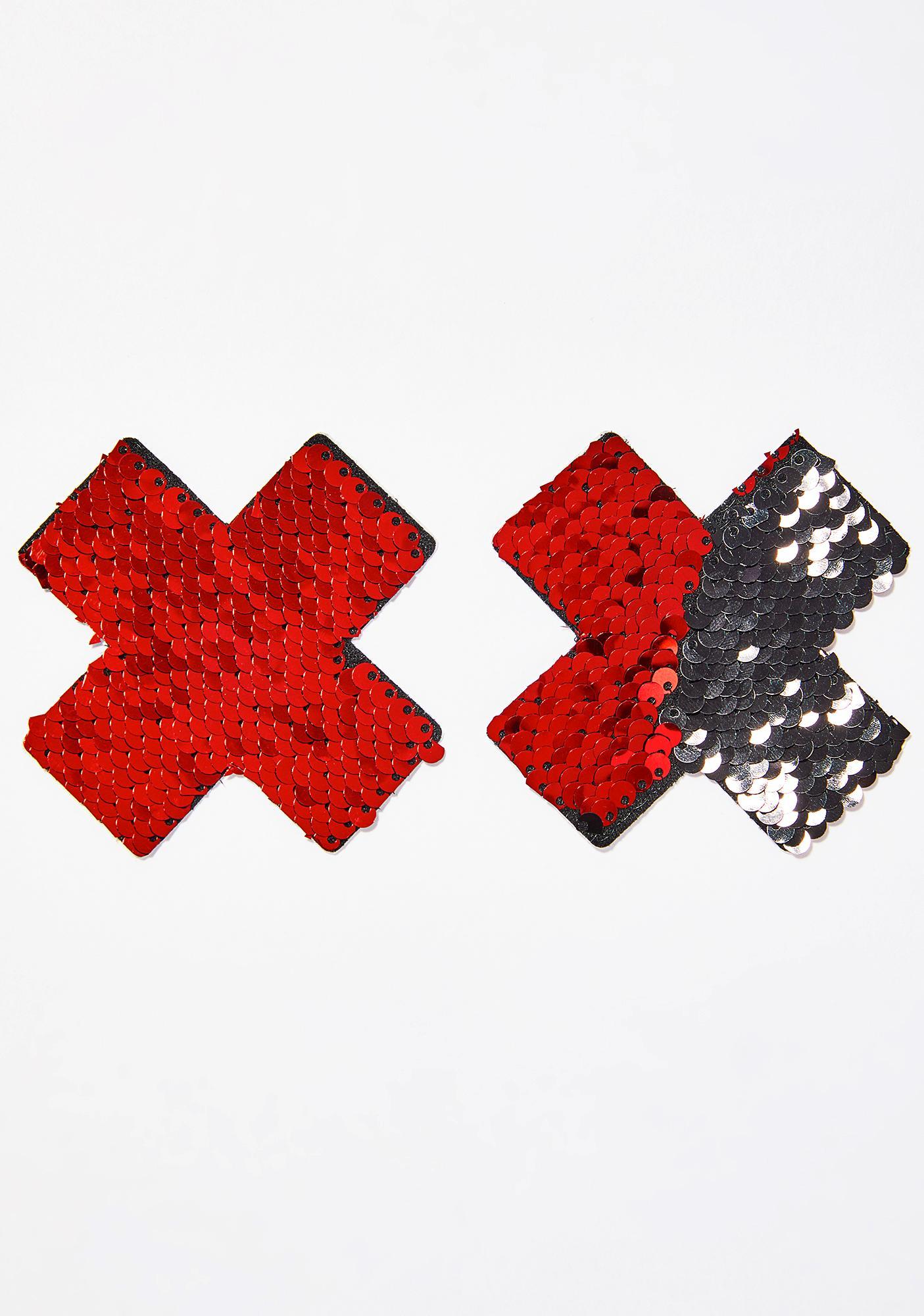 Neva Nude Red & Black Sequin X Pasties