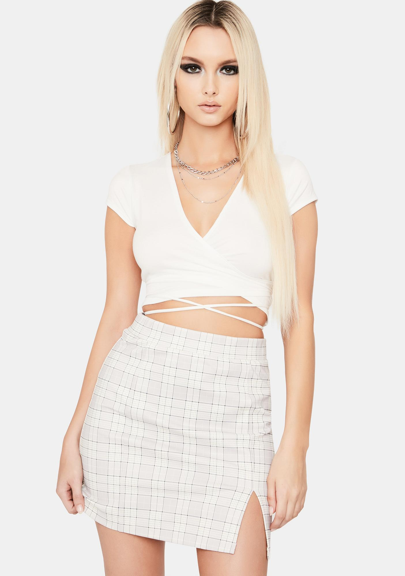 Cloudy Off The Record Gingham Mini Skirt