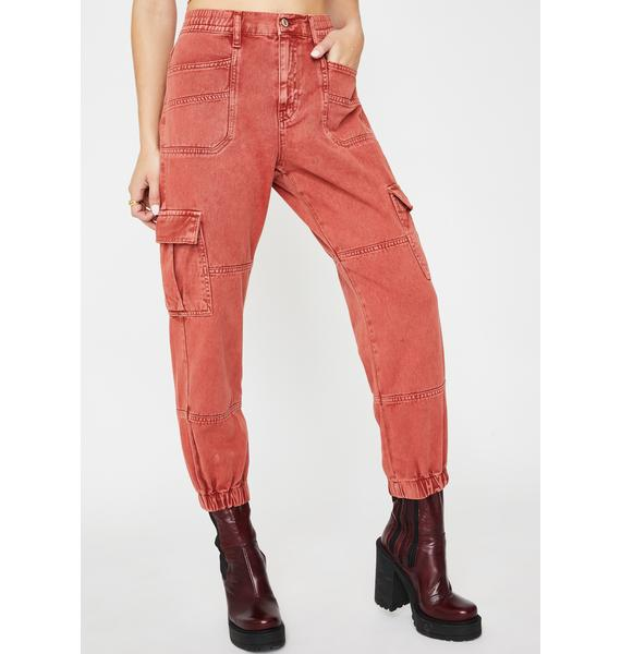 Free People Red Platoon Cargo Pants