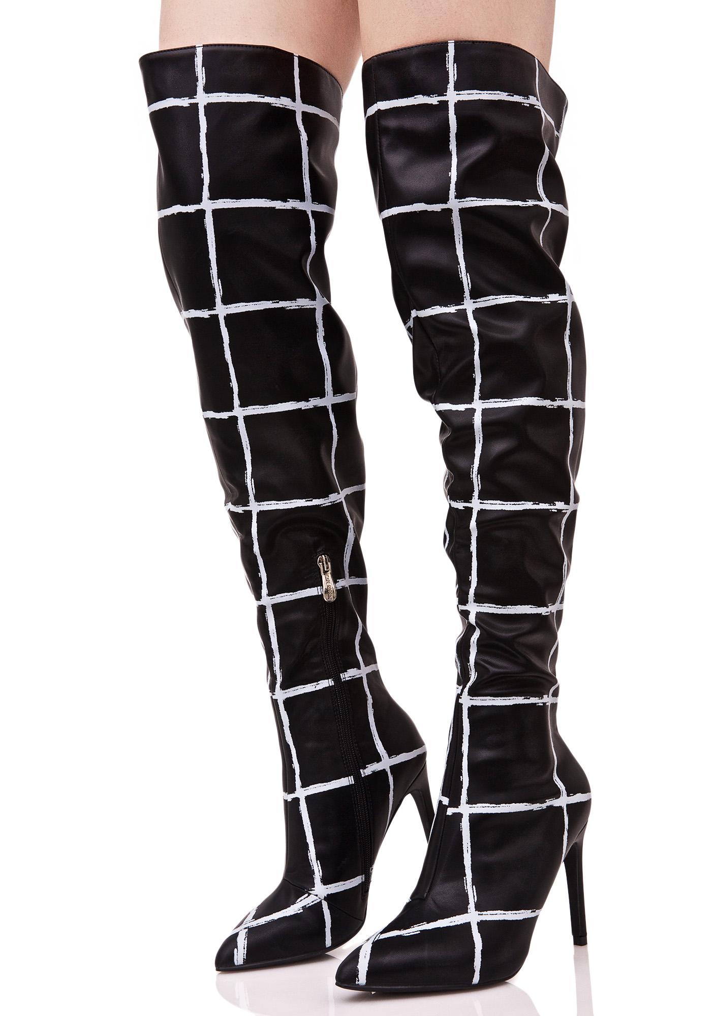 Grid Print Thigh High Boots
