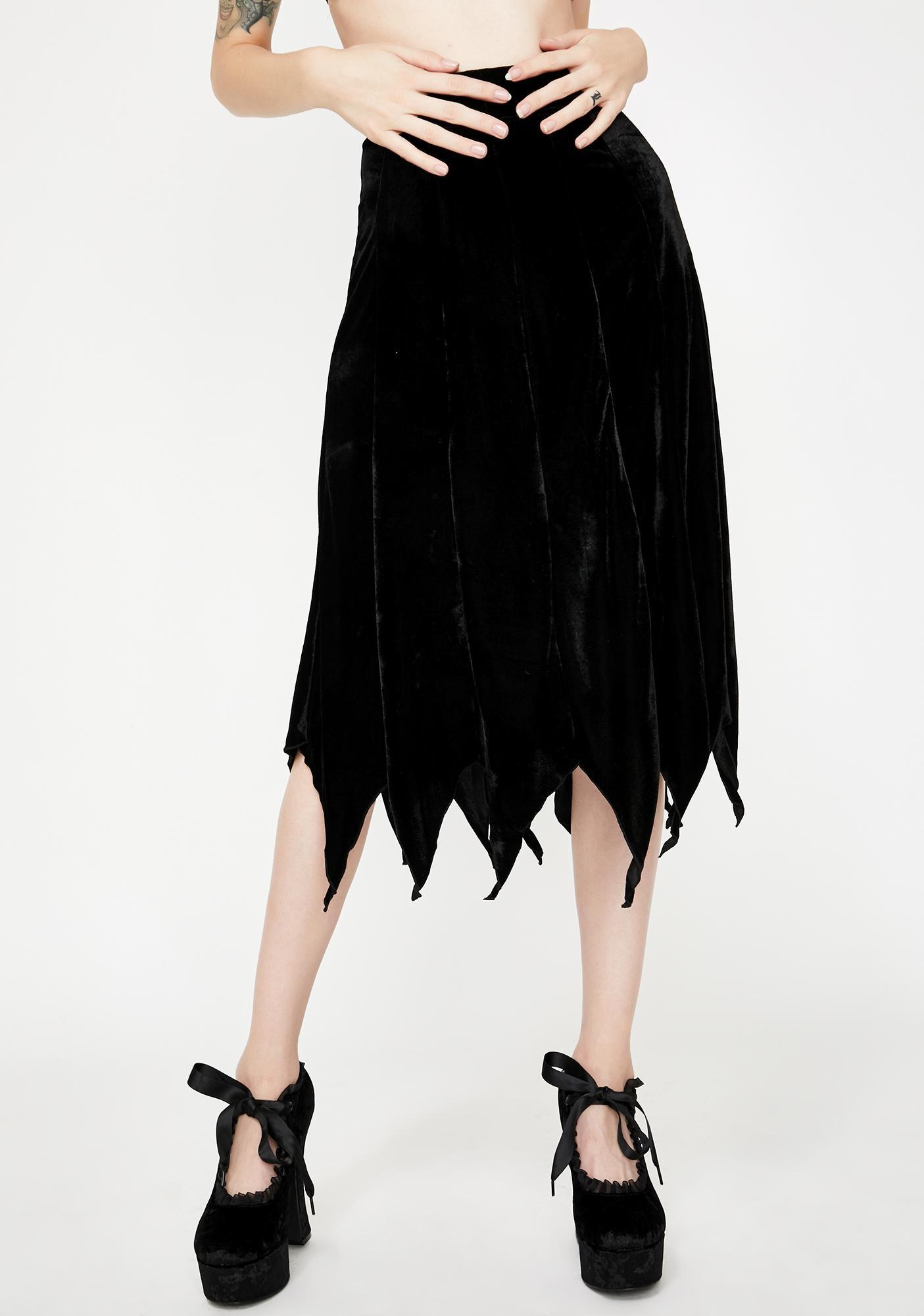 Necessary Evil Cybele Velvet Midi Skirt