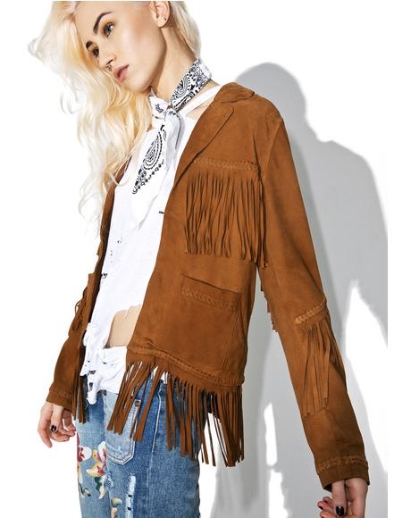 Heart Of Gold Fringe Leather Jacket