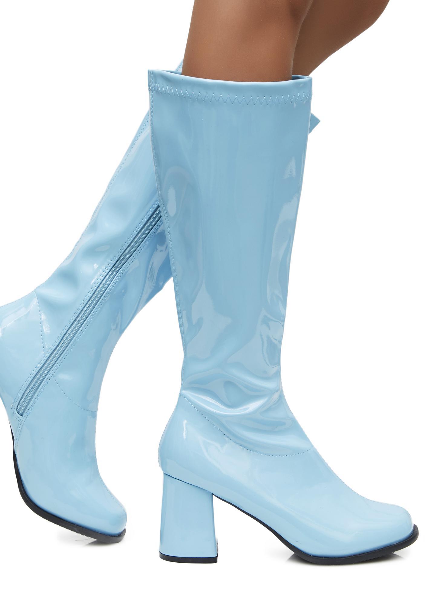 dbb1a5183d7 Chunky Heel Blue Calf Boots