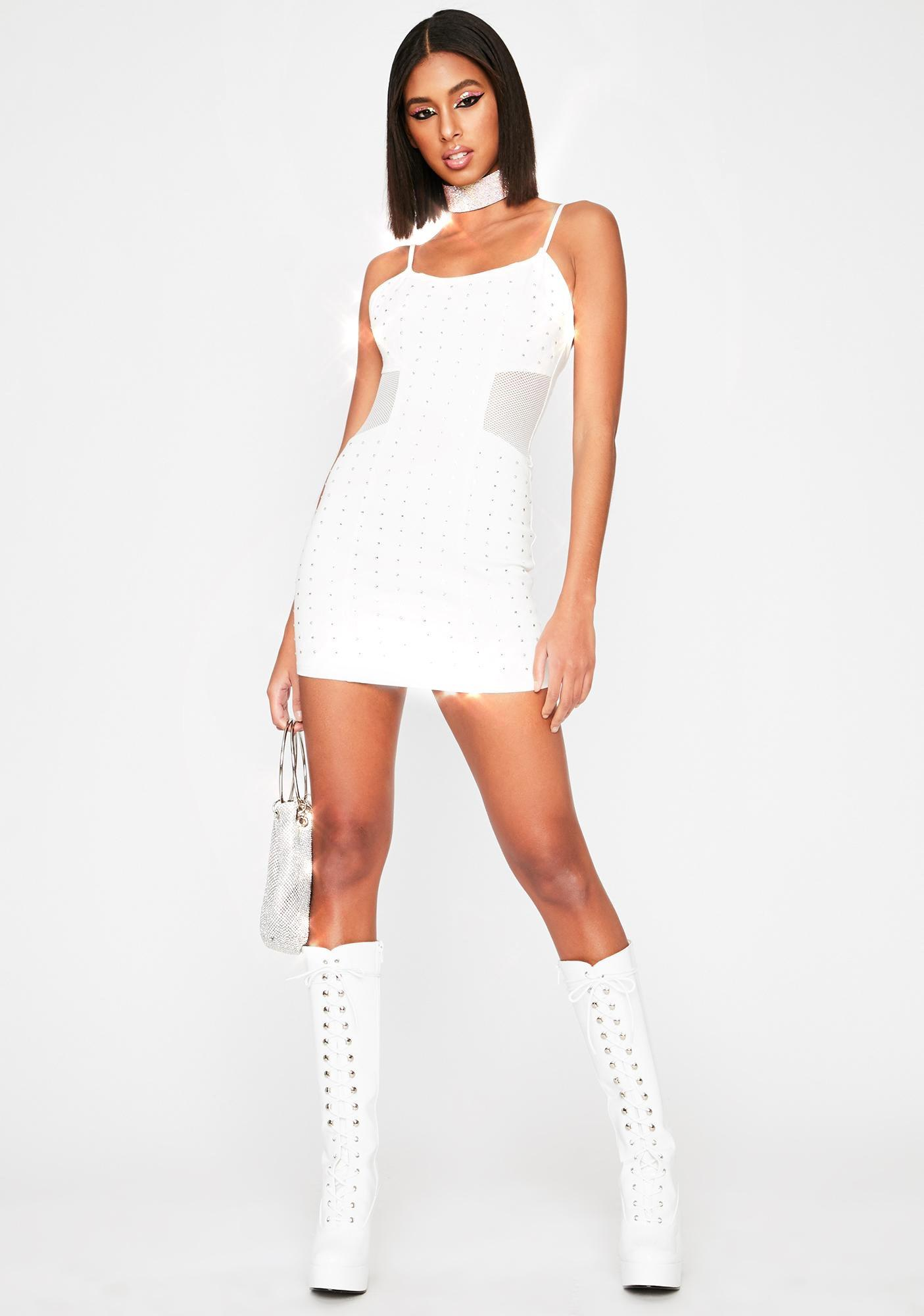 Icy Give Me Rhinestones Denim Dress