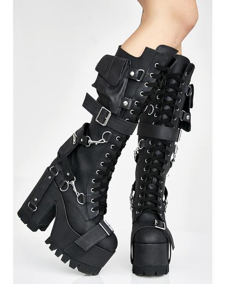 Obsidian Wasteland Buckled Boots
