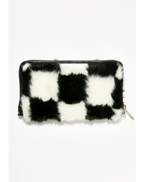 Double Check Faux Fur Wallet
