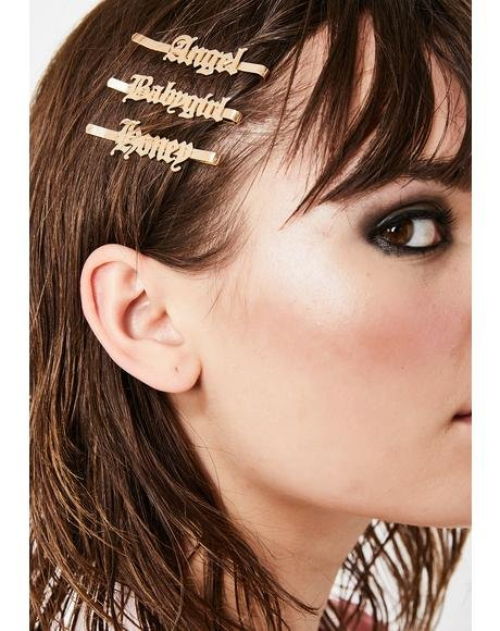 Golden Favorite Nicknames Hair Clip Set