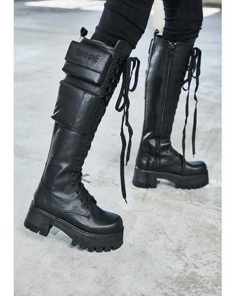 Bassline Obsidian Pocket Combat Boots