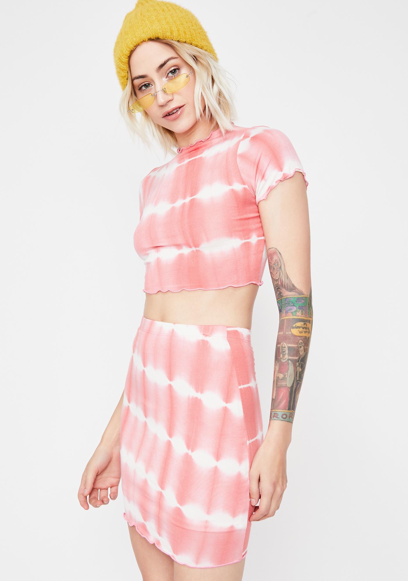 Coral Trippy Bae Skirt Set