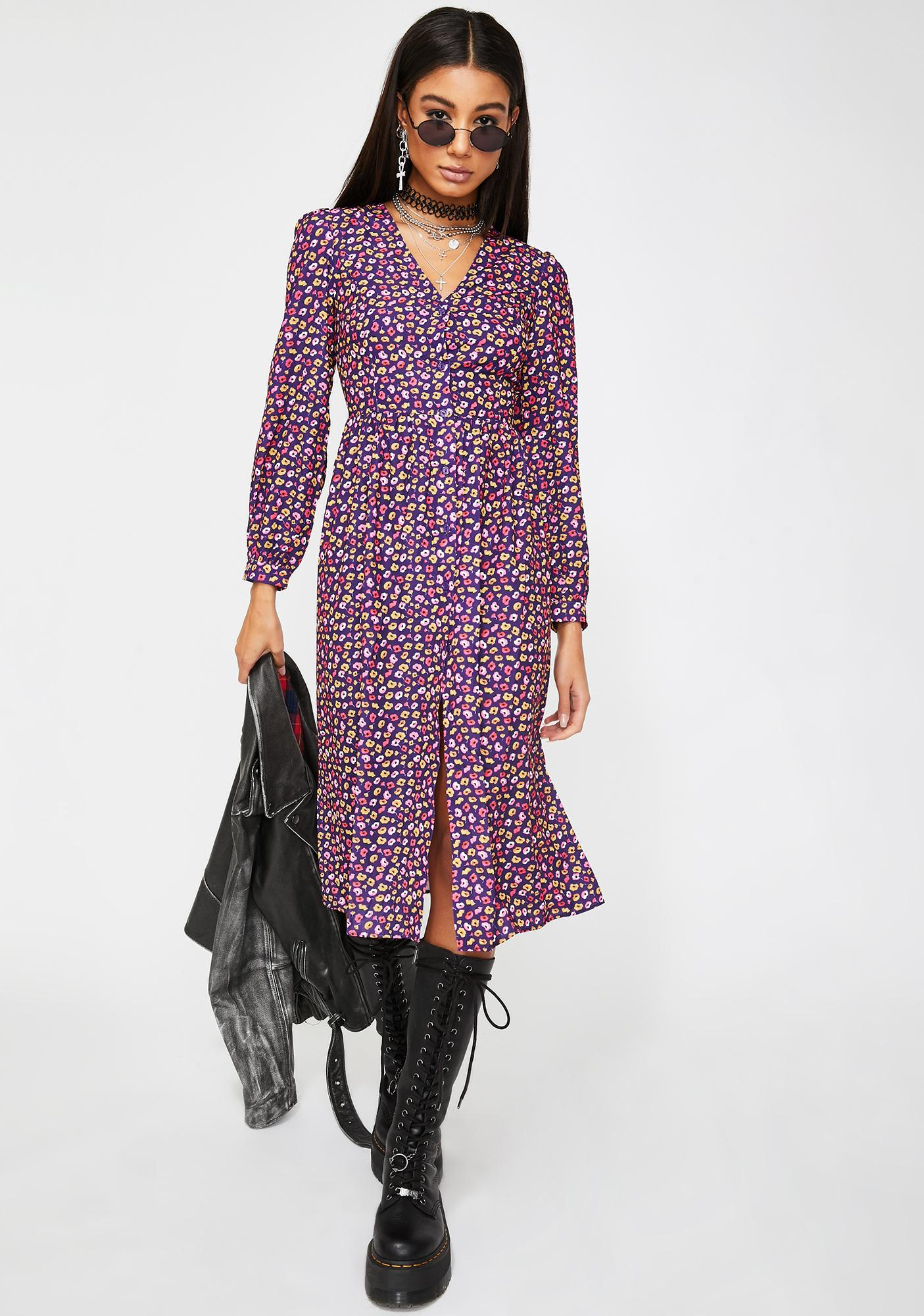 Glamorous Purple Floral Midi Dress