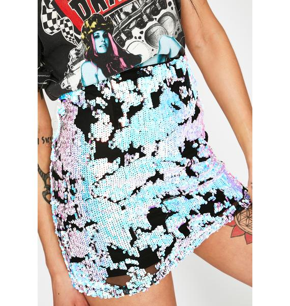 Crystal Hashtag Habits Sequin Skirt