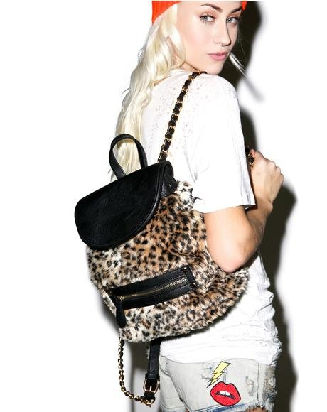 Cheetah Fur Mini Backpack