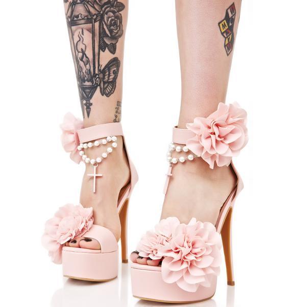 Sugar Thrillz Blush Rosary Platform Heels