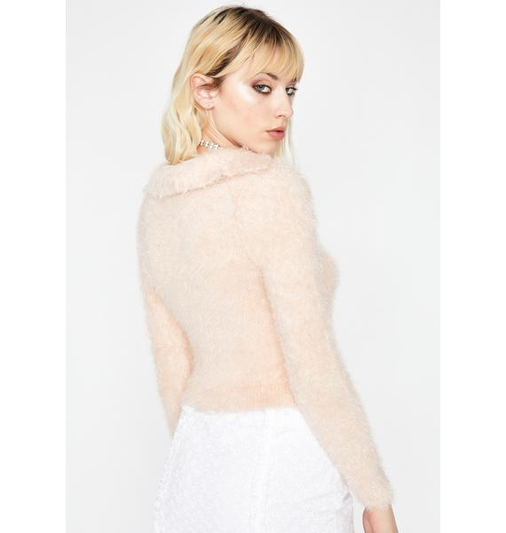 Peach Material Grl Fuzzy Sweater