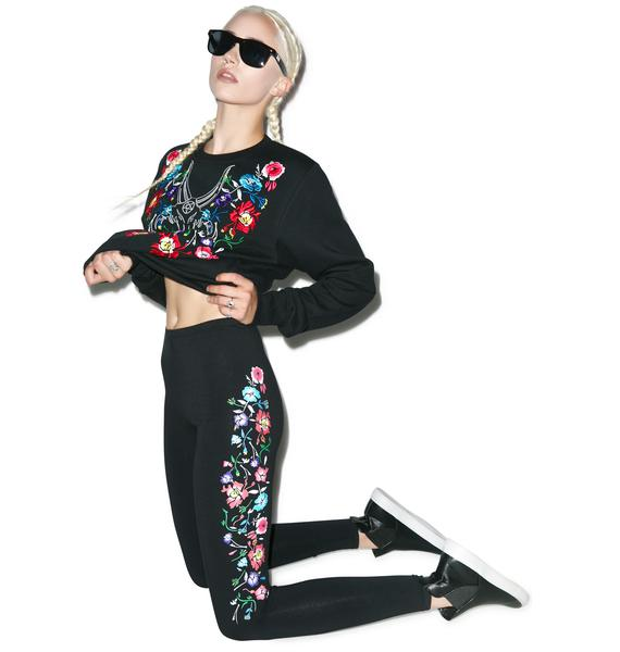 Black Scale Isis Flower Leggings