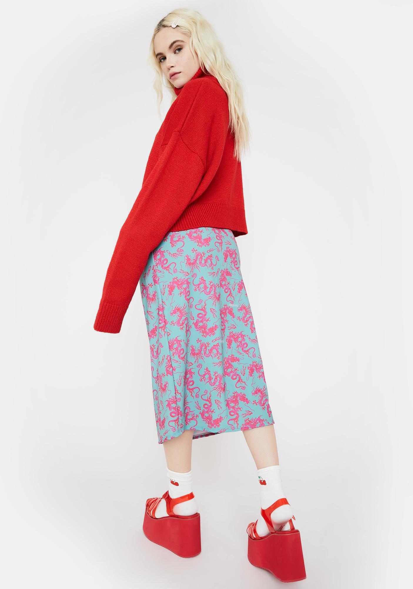 O Mighty Teal Dragon Midi Skirt