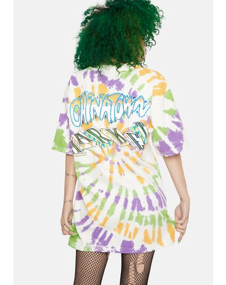 Tie Dye Block Graphic Tee